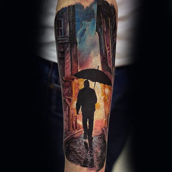 Cool City Street Man With Umbrella Sky Sleeve Tattoo On Forearm