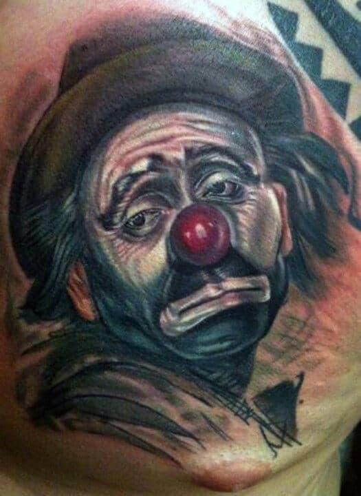 Cool Clown With Sad Face Male Upper Chest Tattoos