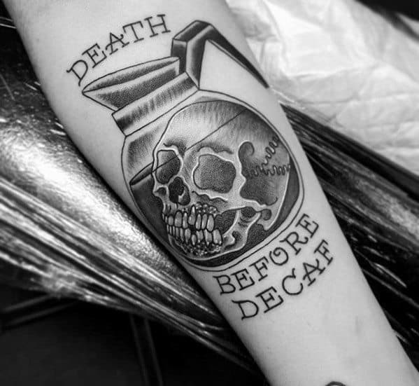 Cool Coffee Death Before Decaf Skull Inner Forearm Tattoo Design Ideas For Male