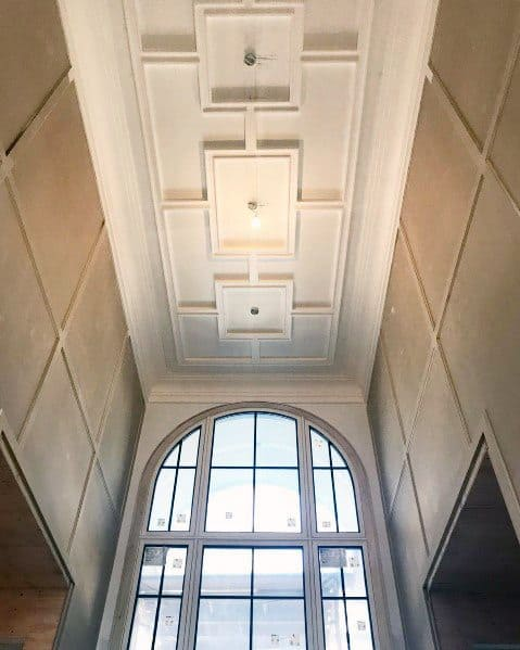 Cool Coffered Tall Ceiling Design Ideas For Foyer Of Home