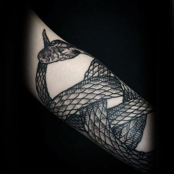 Cool Coiled Snake Ouroboros Male Forearm Tattoos