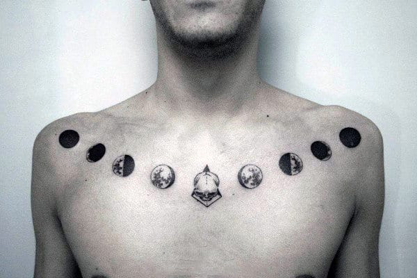 Cool Collar Bone Moon Phase Tattoos For Guys