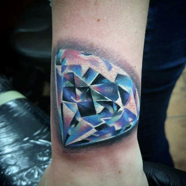 Cool Color Mens Glowing Diamond Tattoo On Wrist