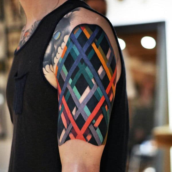 Cool Colored Cross Formed By Lines Tattoo Male Upper Arms