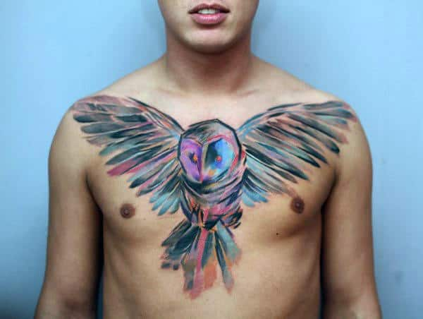 Cool Colorful Mens Barn Owl Watercolor Upper Chest Tattoo Ideas