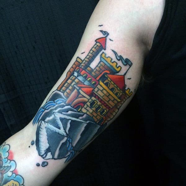 Cool Colorful Mens Castle Tattoo On Biceps