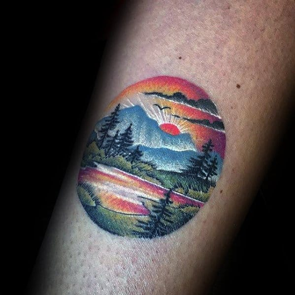 Cool Colorful Mens Detailed Small Nature Mountains Tattoo On Arm