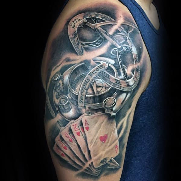 Tattoo Ideas On Upper Arm: 90 Playing Card Tattoos For Men