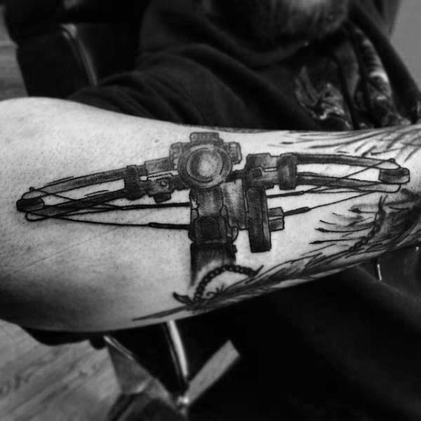 Cool Compound Bow Mens Archery Tattoos On Outer Forearm