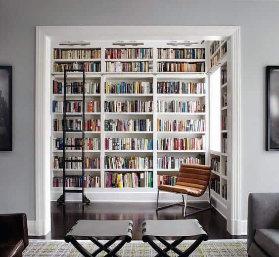 Cool Contemporary Home Library Room With Ladder