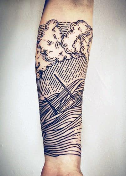 Cool Continous Line Tattoos On Men Sailing Ship With Clouds