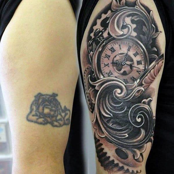 Cool Cover Up Mens Filigree Half Sleeve Tattoo