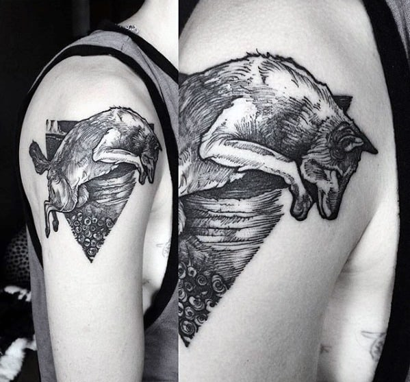 Cool Coyote Tattoo Design Ideas For Male On Upper Arm