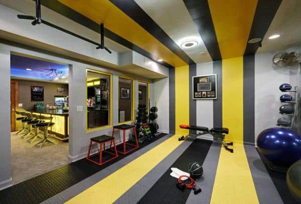 cool creative home gym in basement for men - Home Gym Design Ideas