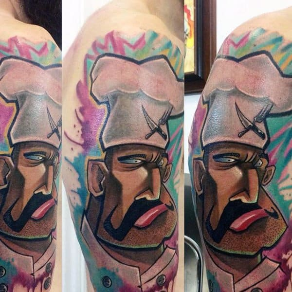 Cool Creative Mens Graffiti Cooking Chef Themed Tattoo On Upper Arm