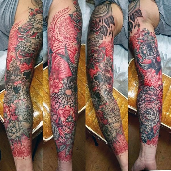 Cool Creative Red Ink Abstract Full Sleeve Guys Tattoos