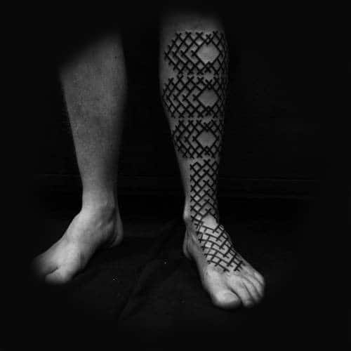 Cool Crossed Geometric Pattern Tattoo