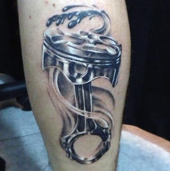 Cool Crosshead Piston Art Tattoo For Men