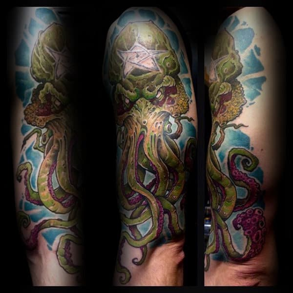 Cool Cthulhu With Blue Watercolor Background Mens Arm Tattoos