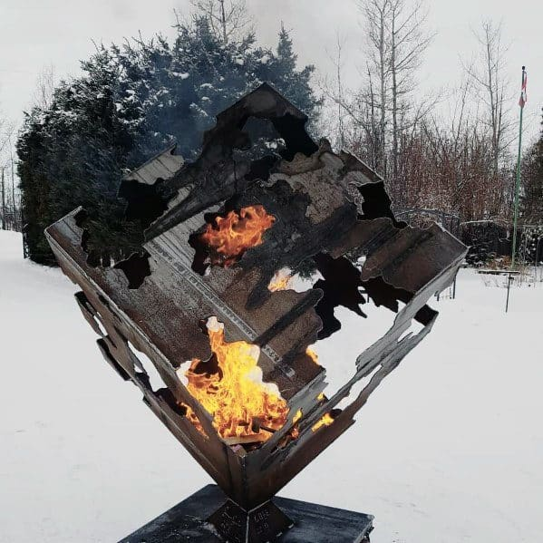 Cool Cube Steel Fire Pit Design Ideas