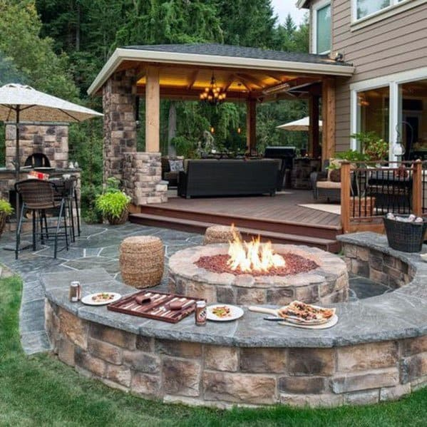 Cool Curved Stone Fire Pit Seating Design Ideas