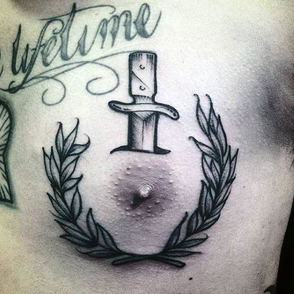 Cool Dagger Mens Olive Branch Chest Tattoos