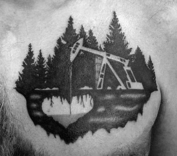 Cool Dark Black Ink Oilfield Mens Upper Chest Tattoo Designs