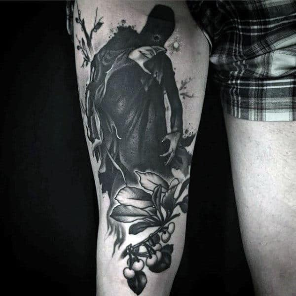 Cool Dark Ghost And Berry Shrub Tatto Male Legs