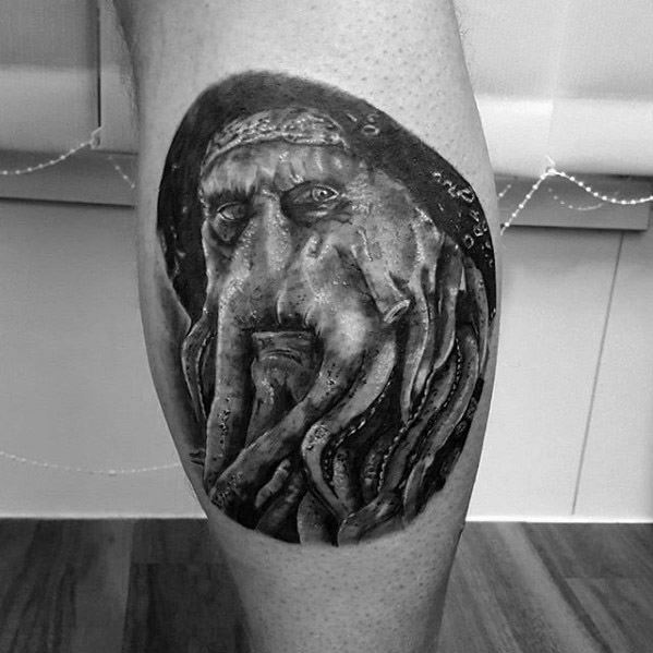 Cool Davy Jones Leg Calf Tattoo Design Ideas For Male