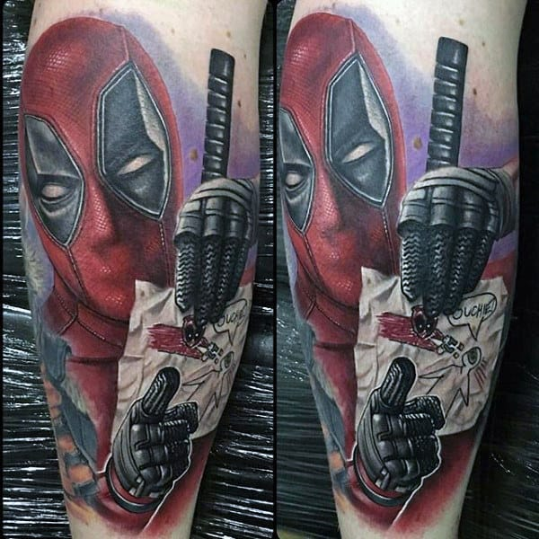 Cool Dead Pool Shaded Ink Male Video Game Tattoo