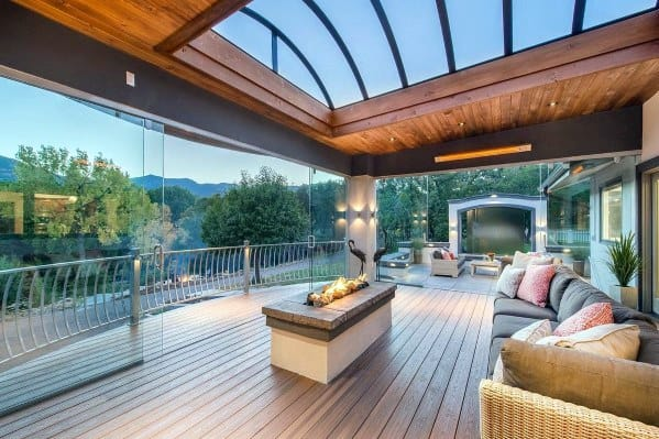 Cool Deck Roof Design Ideas With Glass Ceiling Windows & Top 40 Best Deck Roof Ideas - Covered Backyard Space Designs