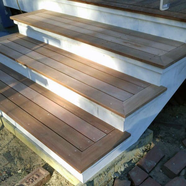 Cool Deck Steps White And Unstained Wood