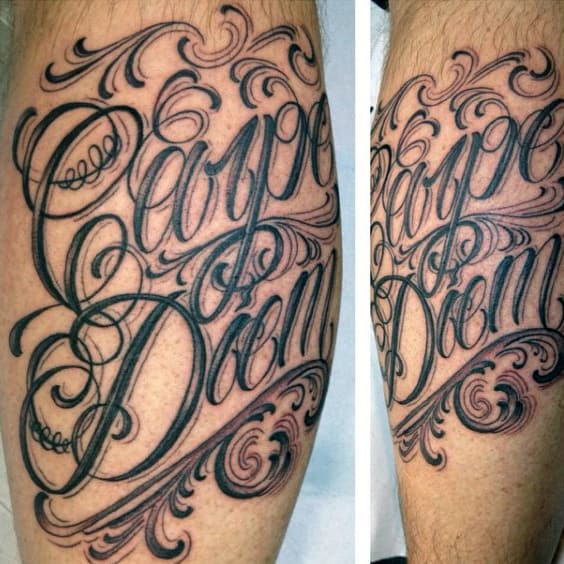 Cool Decorative Carpe Diem Leg Calf Guys Tattoos