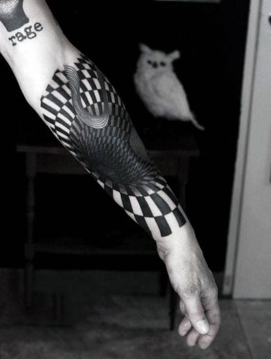 Cool Deep Black And White Check Tattoo Male Forearms