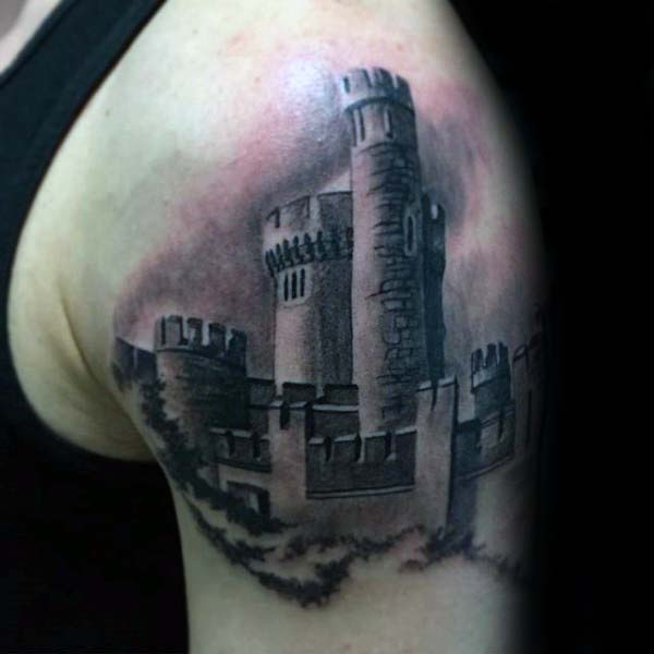 Cool Detailed Shaded Ireland Castle Mens Upper Arm Tattoos