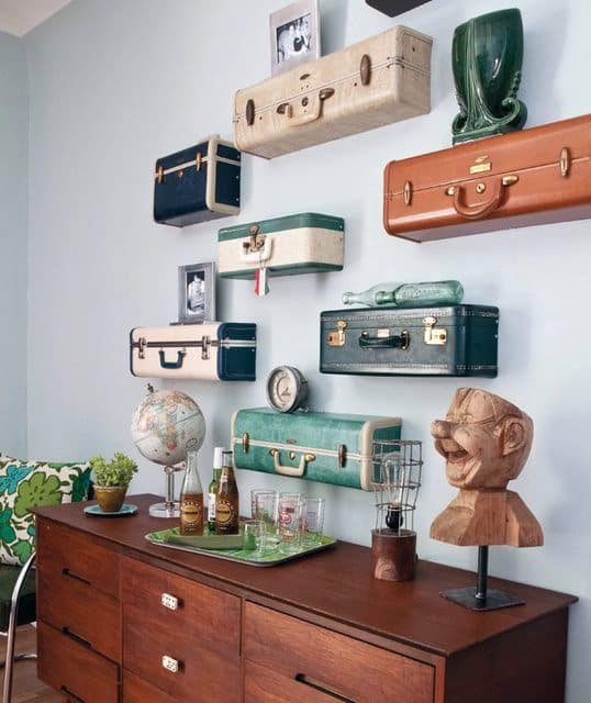 Cool Diy Man Cave Ideas Suitcase Shelves