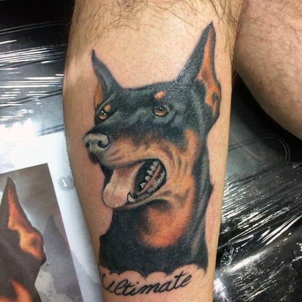Cool Doberman Pinscher Dog Tattoo On Male