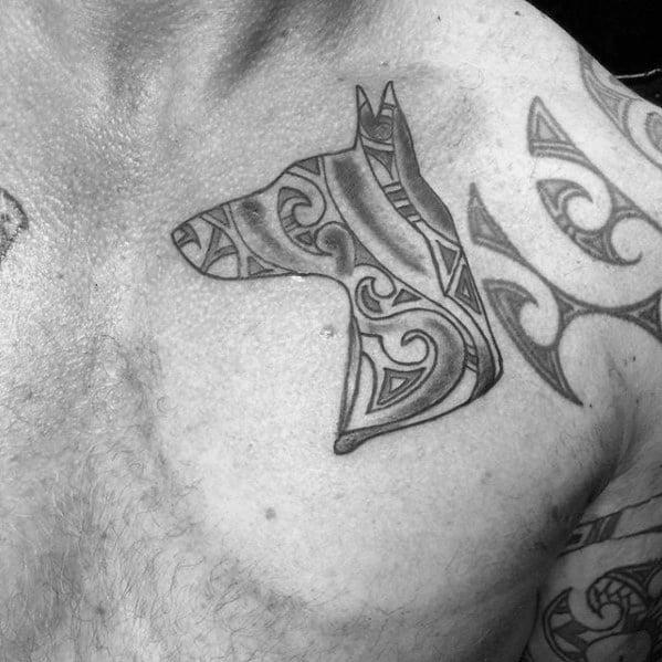 Cool Doberman Tribal Chest Tattoo Design Ideas For Male
