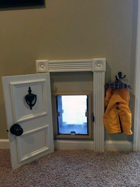 Cool Doggy Door Ideas With Coat Hanger And Realistic Minature Door