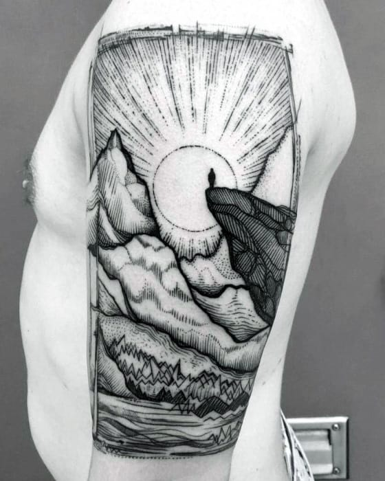 Cool Dotted Grey Tattoo Of Sunlit Hills Male Upper Arms