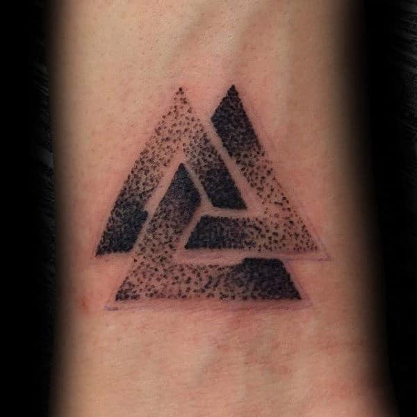 Cool Dotwork Black Ink Uys Wrist Valknut Tattoos