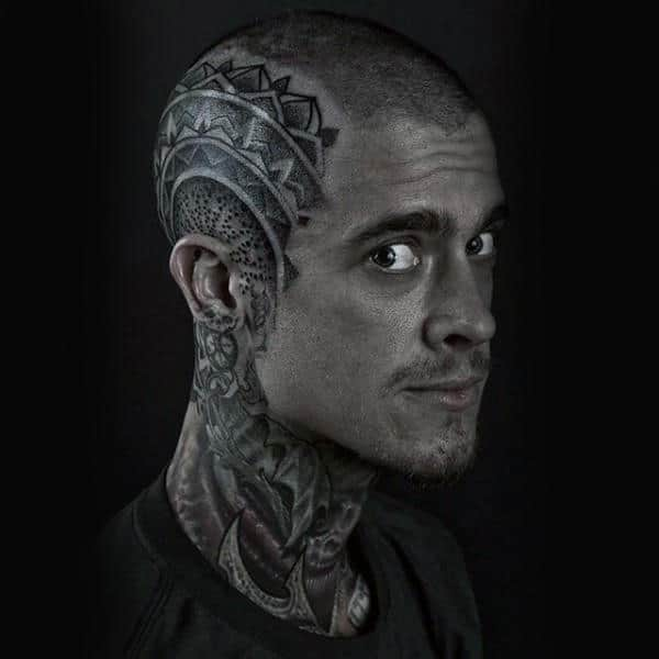 Cool Dotwork Guys Head Tattoo