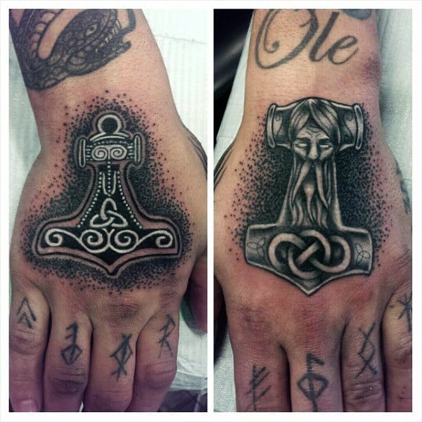 Cool Dotwork Mens Mjolnir Hand Tattoos