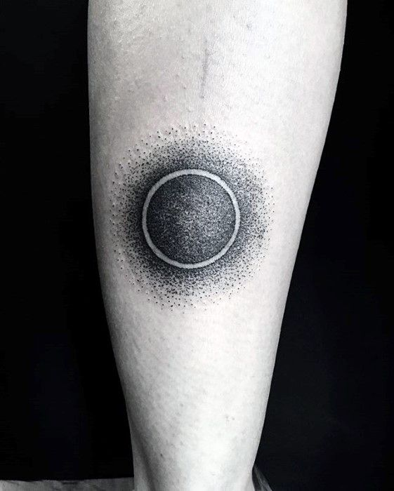 Cool Dotwork Negative Space Sun Small Manly Mens Leg Tattoo