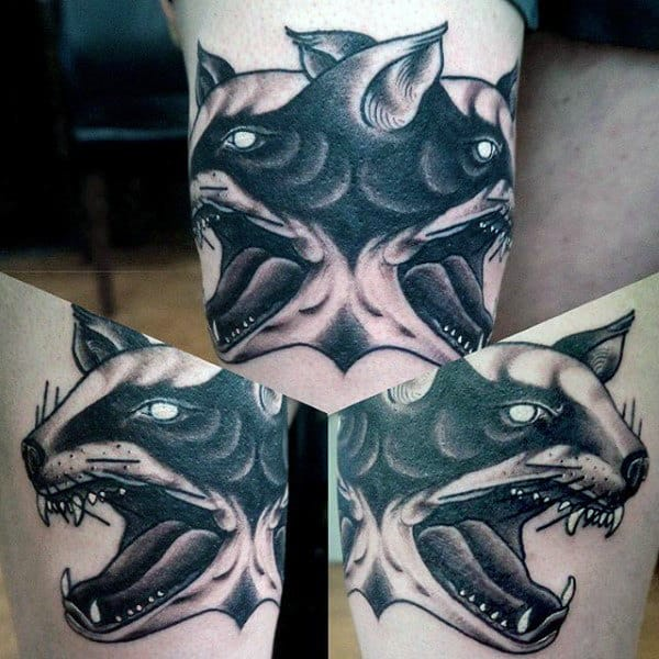 Cool Double Headed Honey Badger Thigh Tattoos For Men
