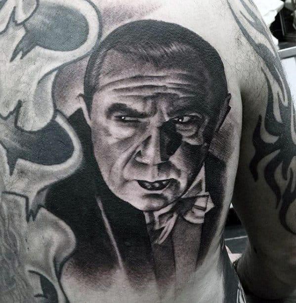 Cool Dracula Portrait Mens Realistic Shoulder Tattoos