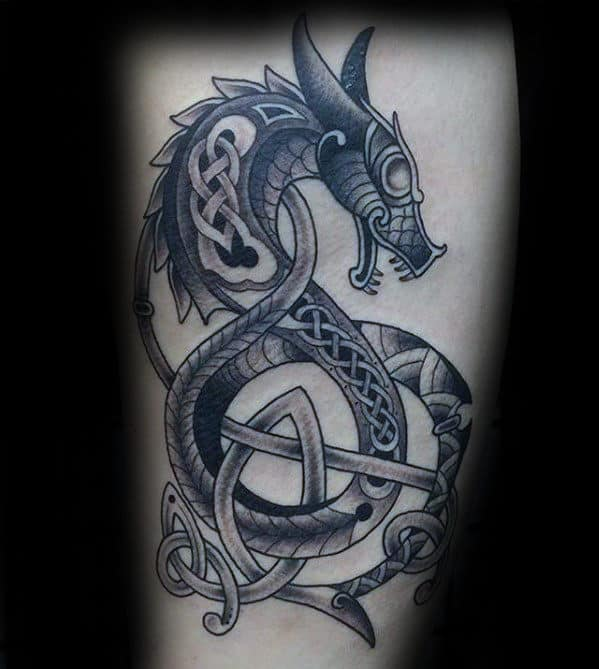 Cool Dragon Celtic Knot Leg Tattoos For Males
