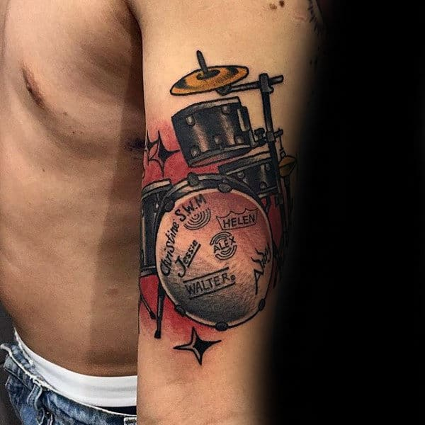 Cool Drum Set Guys Arm Tattoo With Old School Style