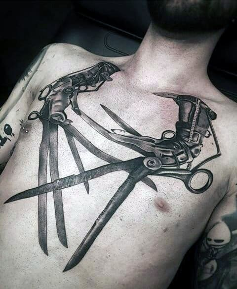 Cool Edward Scissor Hands Mens Badass Chest Tattoo