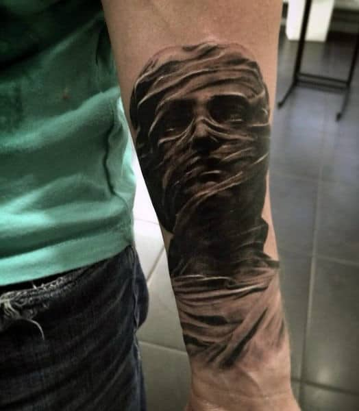 Cool Egyptian Guy's Tattoos Of Mummy On Forearm